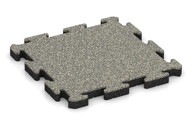 Fallschutz-Puzzlematte von WARCO im Farbdesign Heller Granit mit den Abmessungen 500 x 500 x 40 mm. Produktfoto von Artikel 2850 in der Aufsicht von schräg vorne.