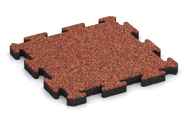 Fallschutz-Puzzlematte von WARCO im Farbdesign Feuersglut mit den Abmessungen 500 x 500 x 40 mm. Produktfoto von Artikel 2854 in der Aufsicht von schräg vorne.
