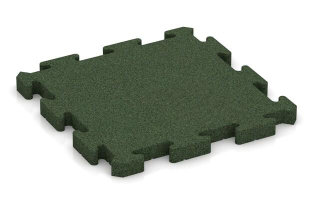 Fallschutz-Puzzlematte von WARCO im Farbdesign grasgrün mit den Abmessungen 500 x 500 x 40 mm. Produktfoto von Artikel 2962 in der Aufsicht von schräg vorne.