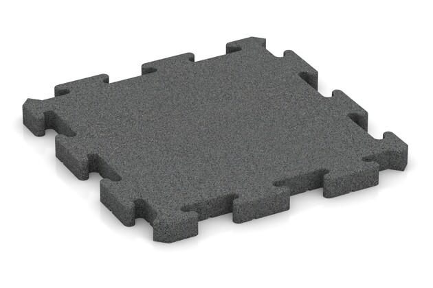 Fallschutz-Puzzlematte von WARCO im Farbdesign schiefergrau mit den Abmessungen 500 x 500 x 40 mm. Produktfoto von Artikel 2963 in der Aufsicht von schräg vorne.