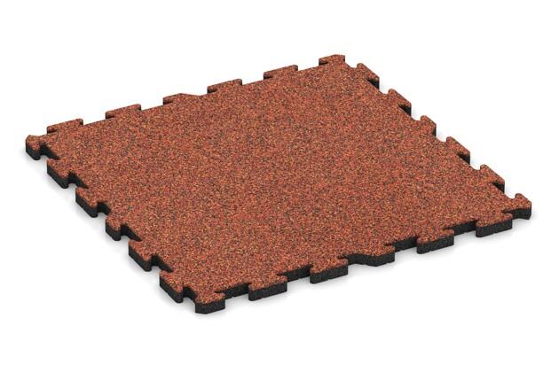 Spiel-Bodenbelag von WARCO im Farbdesign Feuersglut mit den Abmessungen 1000 x 1000 x 40 mm. Produktfoto von Artikel 3384 in der Aufsicht von schräg vorne.
