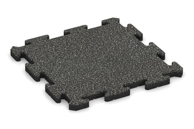 Fallschutz-Puzzlematte von WARCO im Farbdesign Dunkelgrauer Granit mit den Abmessungen 500 x 500 x 30 mm. Produktfoto von Artikel 2627 in der Aufsicht von schräg vorne.