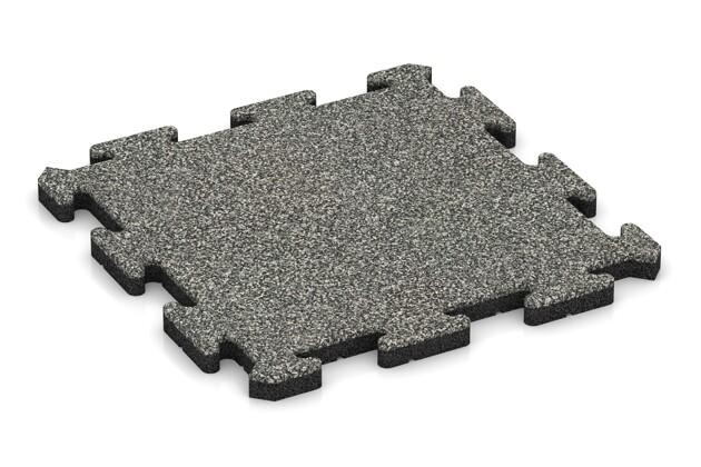 Fallschutz-Puzzlematte pro von WARCO im Farbdesign Grauer Granit mit den Abmessungen 500 x 500 x 30 mm. Produktfoto von Artikel 2712 in der Aufsicht von schräg vorne.
