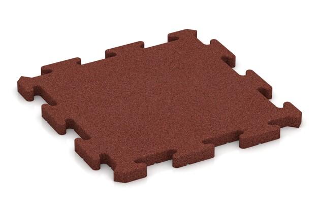 Fallschutz-Puzzlematte von WARCO im Farbdesign ziegelrot mit den Abmessungen 500 x 500 x 30 mm. Produktfoto von Artikel 2768 in der Aufsicht von schräg vorne.