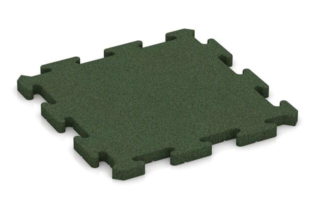 Fallschutz-Puzzlematte von WARCO im Farbdesign grasgrün mit den Abmessungen 500 x 500 x 30 mm. Produktfoto von Artikel 2769 in der Aufsicht von schräg vorne.