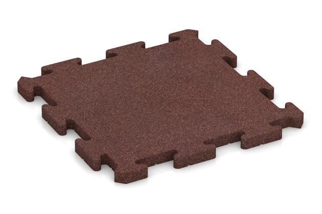 Fallschutz-Puzzlematte von WARCO im Farbdesign schokobraun mit den Abmessungen 500 x 500 x 30 mm. Produktfoto von Artikel 2771 in der Aufsicht von schräg vorne.