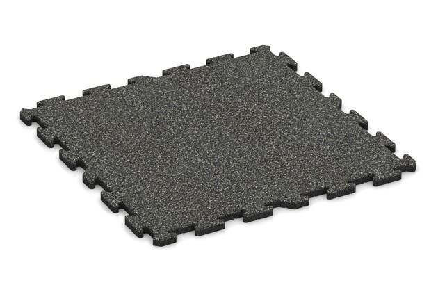 Spiel-Bodenbelag von WARCO im Farbdesign Dunkelgrauer Granit mit den Abmessungen 1000 x 1000 x 30 mm. Produktfoto von Artikel 3212 in der Aufsicht von schräg vorne.