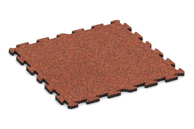 Spiel-Bodenbelag von WARCO im Farbdesign Feuersglut mit den Abmessungen 1000 x 1000 x 30 mm. Produktfoto von Artikel 3218 in der Aufsicht von schräg vorne.