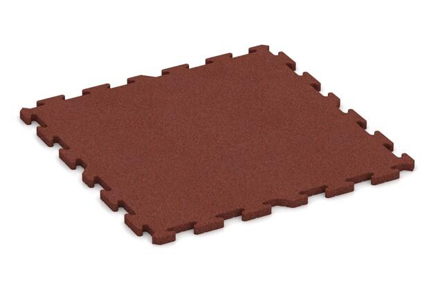 Spiel-Bodenbelag von WARCO im Farbdesign ziegelrot mit den Abmessungen 1000 x 1000 x 30 mm. Produktfoto von Artikel 3325 in der Aufsicht von schräg vorne.