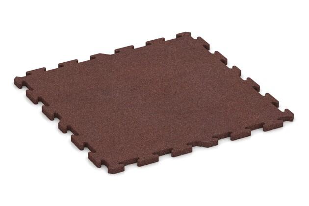 Spiel-Bodenbelag von WARCO im Farbdesign schokobraun mit den Abmessungen 1000 x 1000 x 30 mm. Produktfoto von Artikel 3328 in der Aufsicht von schräg vorne.