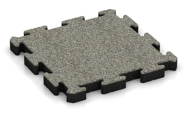 Fallschutz-Puzzlematte von WARCO im Farbdesign Heller Granit mit den Abmessungen 500 x 500 x 50 mm. Produktfoto von Artikel 3030 in der Aufsicht von schräg vorne.