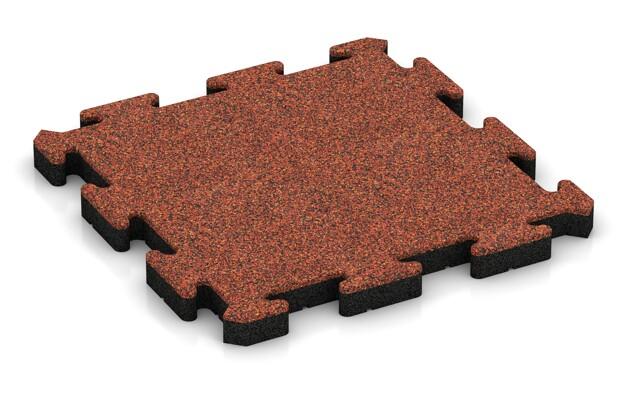 Fallschutz-Puzzlematte von WARCO im Farbdesign Feuersglut mit den Abmessungen 500 x 500 x 50 mm. Produktfoto von Artikel 3034 in der Aufsicht von schräg vorne.