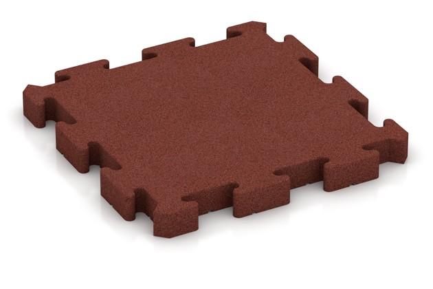 Fallschutz-Puzzlematte von WARCO im Farbdesign ziegelrot mit den Abmessungen 500 x 500 x 50 mm. Produktfoto von Artikel 3127 in der Aufsicht von schräg vorne.