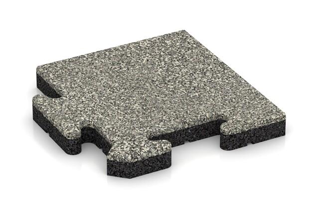 Eck-Abschlussplatte pro (Zuschnitt) von WARCO im Farbdesign Heller Granit mit den Abmessungen 235 x 235 x 30 mm. Produktfoto von Artikel 4900 in der Aufsicht von schräg vorne.