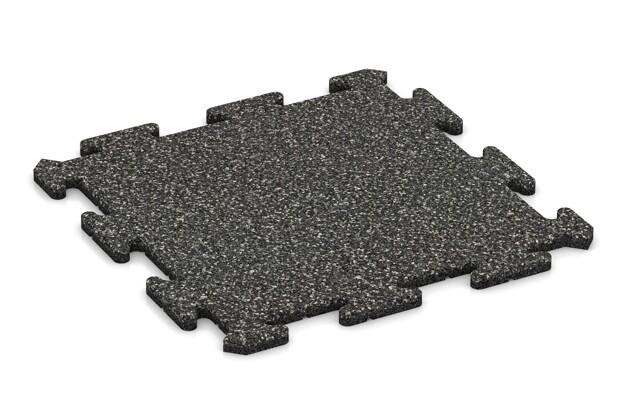 Fallschutz-Treppenbelag pro von WARCO im Farbdesign Dunkelgrauer Granit mit den Abmessungen 500 x 500 x 18 mm. Produktfoto von Artikel 0110 in der Aufsicht von schräg vorne.