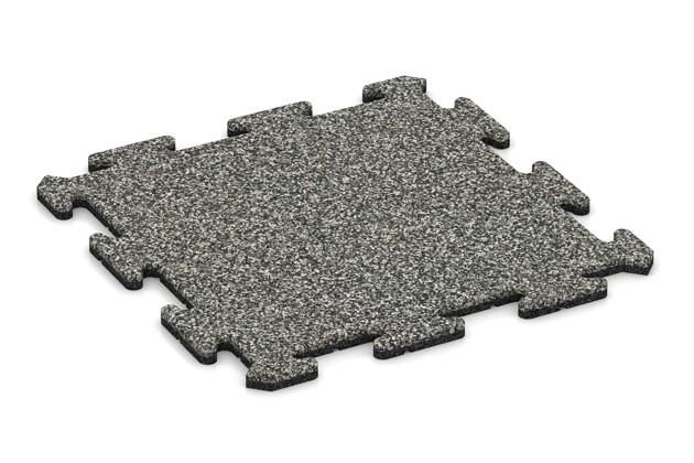 Fallschutz-Treppenbelag pro von WARCO im Farbdesign Grauer Granit mit den Abmessungen 500 x 500 x 18 mm. Produktfoto von Artikel 0111 in der Aufsicht von schräg vorne.