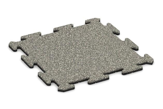 Fallschutz-Treppenbelag von WARCO im Farbdesign Heller Granit mit den Abmessungen 500 x 500 x 18 mm. Produktfoto von Artikel 0098 in der Aufsicht von schräg vorne.