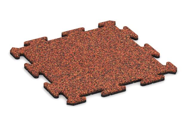 Sportboden-Platte von WARCO im Farbdesign Feuersglut mit den Abmessungen 500 x 500 x 18 mm. Produktfoto von Artikel 4215 in der Aufsicht von schräg vorne.