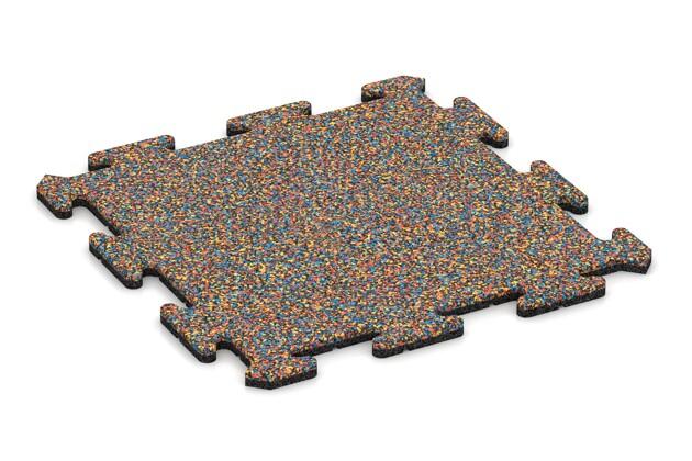 Fallschutz-Treppenbelag pro von WARCO im Farbdesign Papagei mit den Abmessungen 500 x 500 x 18 mm. Produktfoto von Artikel 0119 in der Aufsicht von schräg vorne.