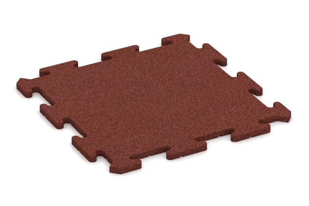 Fallschutz-Treppenbelag von WARCO im Farbdesign ziegelrot mit den Abmessungen 500 x 500 x 18 mm. Produktfoto von Artikel 0177 in der Aufsicht von schräg vorne.