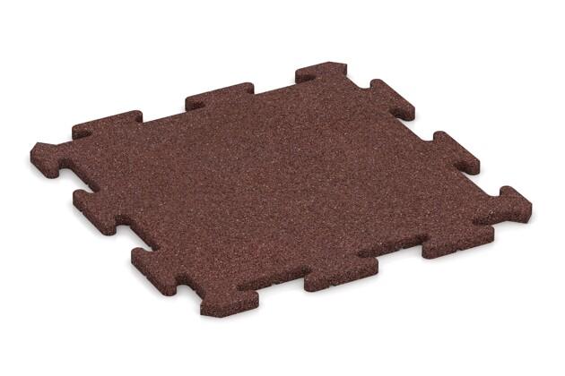 Fallschutz-Treppenbelag von WARCO im Farbdesign schokobraun mit den Abmessungen 500 x 500 x 18 mm. Produktfoto von Artikel 0180 in der Aufsicht von schräg vorne.