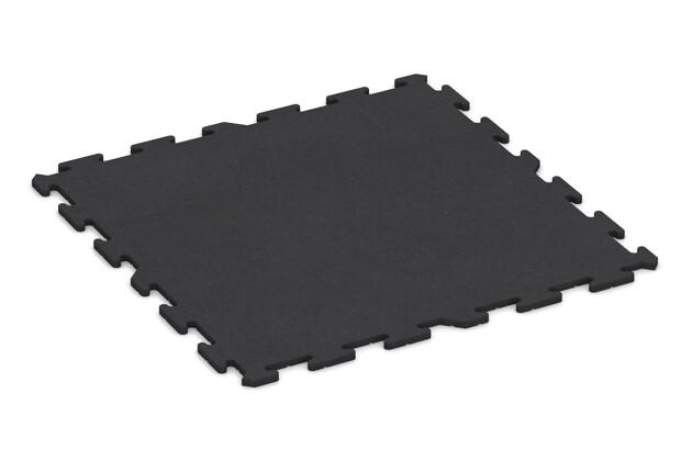 Fitnessstudio-Bodenbelag von WARCO im Farbdesign anthrazit mit den Abmessungen 1000 x 1000 x 18 mm. Produktfoto von Artikel 0377 in der Aufsicht von schräg vorne.