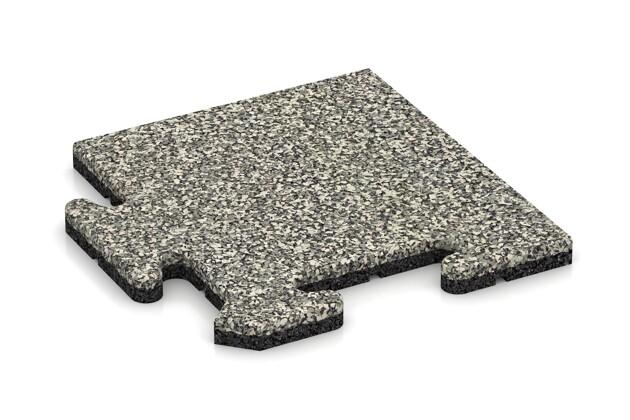 Eck-Abschlussplatte pro (Zuschnitt) von WARCO im Farbdesign Heller Granit mit den Abmessungen 235 x 235 x 18 mm. Produktfoto von Artikel 4735 in der Aufsicht von schräg vorne.