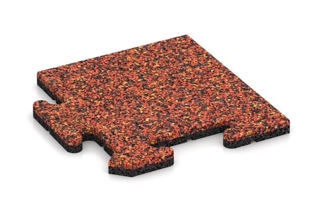 Eck-Abschlussplatte pro (4 Stück) von WARCO im Farbdesign Feuersglut mit den Abmessungen 235 x 235 x 18 mm. Produktfoto von Artikel 4739 in der Aufsicht von schräg vorne.