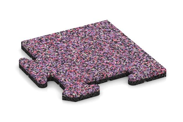 Eck-Abschlussplatte (Zuschnitt) von WARCO im Farbdesign Lavendel mit den Abmessungen 235 x 235 x 18 mm. Produktfoto von Artikel 4709 in der Aufsicht von schräg vorne.