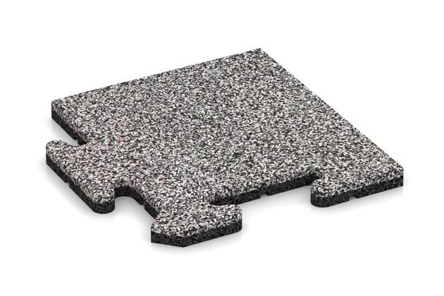Eck-Abschlussplatte pro (Zuschnitt) von WARCO im Farbdesign Graue Melange mit den Abmessungen 235 x 235 x 18 mm. Produktfoto von Artikel 4684 in der Aufsicht von schräg vorne.