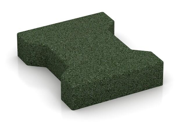 Fallschutz-Pflaster von WARCO im Farbdesign grasgrün mit den Abmessungen 200 x 165 x 43 mm. Produktfoto von Artikel 3617 in der Aufsicht von schräg vorne.