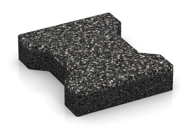 Gehweg-Pflaster von WARCO im Farbdesign Dunkelgrauer Granit mit den Abmessungen 200 x 165 x 43 mm. Produktfoto von Artikel 3589 in der Aufsicht von schräg vorne.
