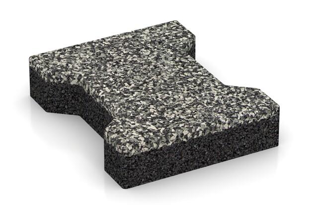 Gehweg-Pflaster von WARCO im Farbdesign Grauer Granit mit den Abmessungen 200 x 165 x 43 mm. Produktfoto von Artikel 3590 in der Aufsicht von schräg vorne.