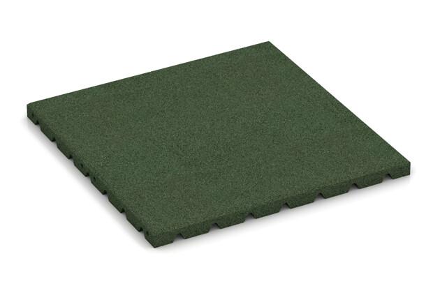 Fallschutzplatte von WARCO im Farbdesign grasgrün mit den Abmessungen 500 x 500 x 30 mm. Produktfoto von Artikel 0576 in der Aufsicht von schräg vorne.