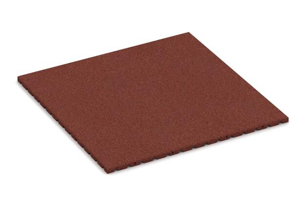 Fallschutzmatte von WARCO im Farbdesign ziegelrot mit den Abmessungen 1000 x 1000 x 30 mm. Produktfoto von Artikel 0757 in der Aufsicht von schräg vorne.