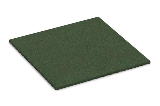 Fallschutzmatte von WARCO im Farbdesign grasgrün mit den Abmessungen 1000 x 1000 x 30 mm. Produktfoto von Artikel 0758 in der Aufsicht von schräg vorne.