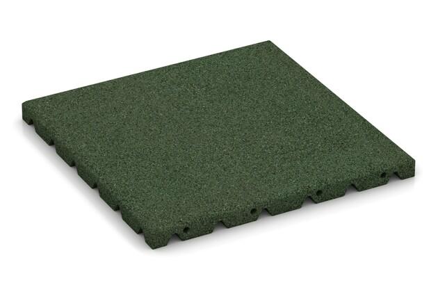Fallschutzplatte von WARCO im Farbdesign grasgrün mit den Abmessungen 400 x 400 x 30 mm. Produktfoto von Artikel 0522 in der Aufsicht von schräg vorne.