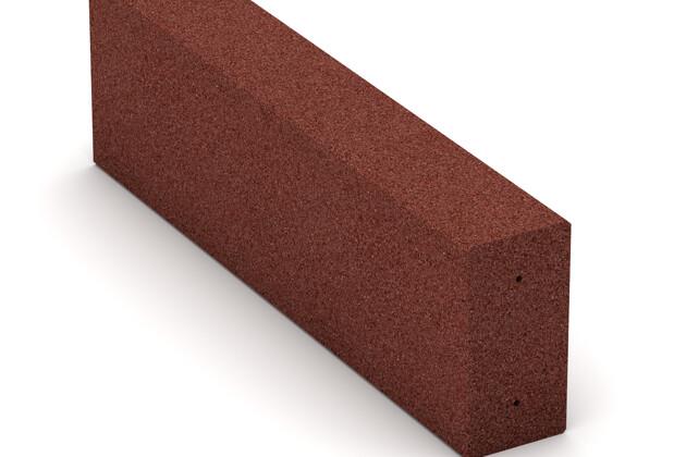 Gummi-Bordstein (Blockstufe) von WARCO im Farbdesign ziegelrot mit den Abmessungen 1000 x 300 x 150 mm. Produktfoto von Artikel 2597 in der Aufsicht von schräg vorne.