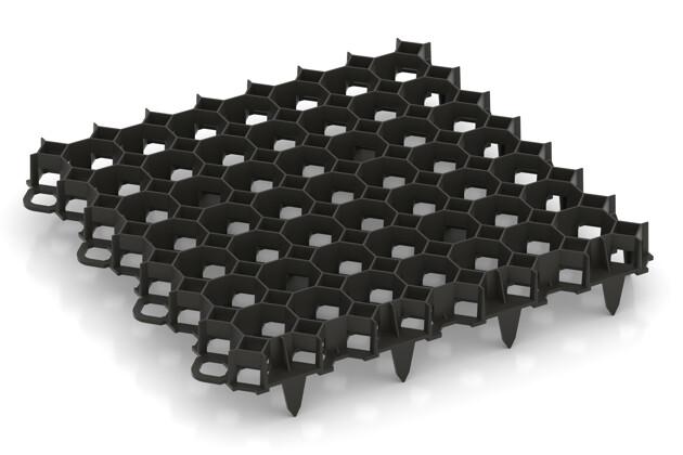 Kunststoff-Wabengitter von WARCO im Farbdesign schwarz mit den Abmessungen 476 x 476 x 40 mm. Produktfoto von Artikel 5207 in der Aufsicht von schräg vorne.
