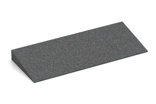 Gummi-Bordsteinrampe von WARCO im Farbdesign schiefergrau mit den Abmessungen 500 x 200 x 43/8 mm. Produktfoto von Artikel 2247 in der Aufsicht von schräg vorne.