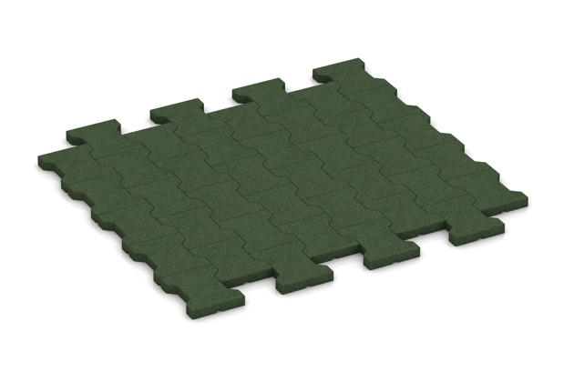 Fallschutz-Pflastermatte von WARCO im Farbdesign grasgrün mit den Abmessungen 1120 x 1000 x 30 mm. Produktfoto von Artikel 3530 in der Aufsicht von schräg vorne.