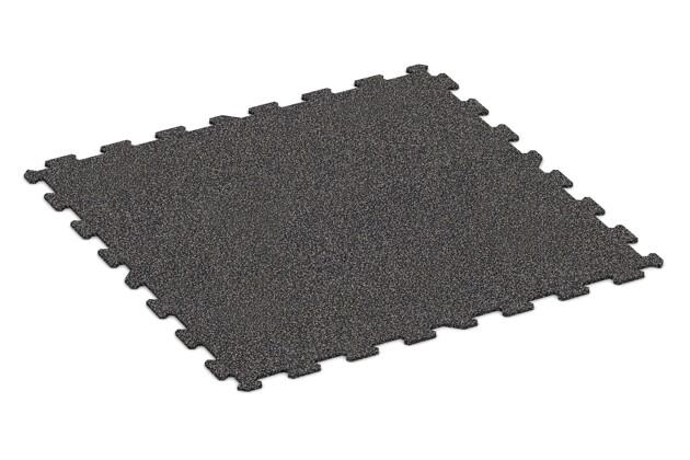 Fitnessmatte von WARCO im Farbdesign Grau Gesprenkelt mit den Abmessungen 970 x 970 x 8 mm. Produktfoto von Artikel 1056 in der Aufsicht von schräg vorne.