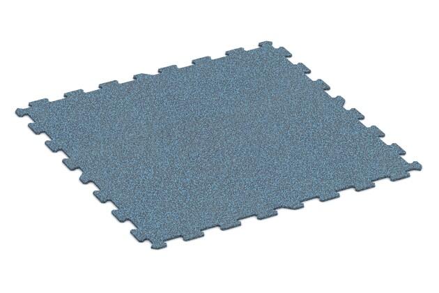 Fitnessmatte von WARCO im Farbdesign Stark Blau Gesprenkelt mit den Abmessungen 970 x 970 x 8 mm. Produktfoto von Artikel 1052 in der Aufsicht von schräg vorne.