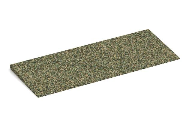 Gummi-Bordsteinrampe von WARCO im Farbdesign Savanne mit den Abmessungen 750 x 300 x 25/8 mm. Produktfoto von Artikel 2285 in der Aufsicht von schräg vorne.