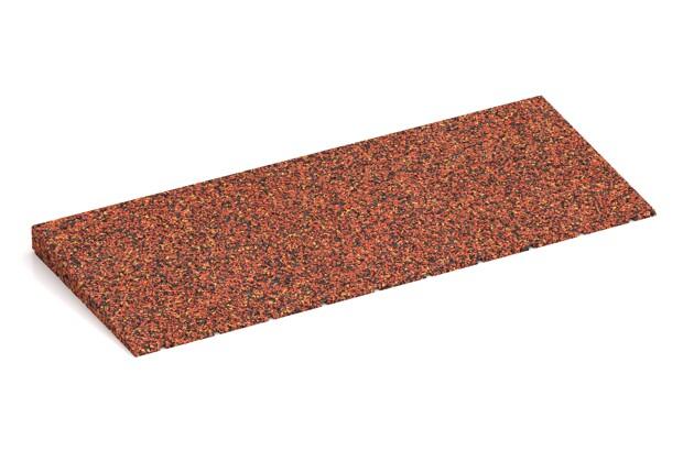 Gummi-Bordsteinrampe von WARCO im Farbdesign Feuersglut mit den Abmessungen 750 x 300 x 40/8 mm. Produktfoto von Artikel 2412 in der Aufsicht von schräg vorne.