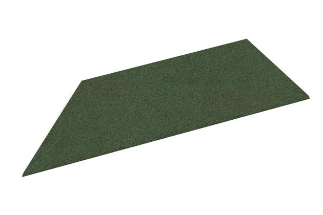 linke Eck-Keilhälfte von WARCO im Farbdesign grasgrün mit den Abmessungen 750 x 300 x 25/8 mm. Produktfoto von Artikel 2114 in der Aufsicht von schräg vorne.