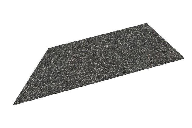 linke Eck-Keilhälfte von WARCO im Farbdesign Dunkelgrauer Granit mit den Abmessungen 750 x 300 x 25/8 mm. Produktfoto von Artikel 2108 in der Aufsicht von schräg vorne.