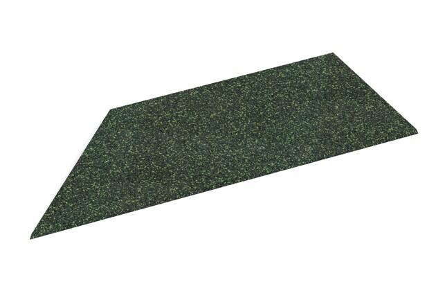 linke Eck-Keilhälfte von WARCO im Farbdesign Englischer Rasen mit den Abmessungen 750 x 300 x 25/8 mm. Produktfoto von Artikel 2107 in der Aufsicht von schräg vorne.