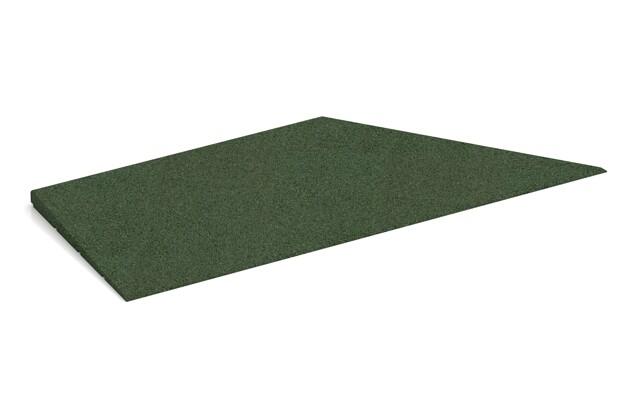 rechte Eck-Keilhälfte von WARCO im Farbdesign grasgrün mit den Abmessungen 750 x 300 x 25/8 mm. Produktfoto von Artikel 1974 in der Aufsicht von schräg vorne.
