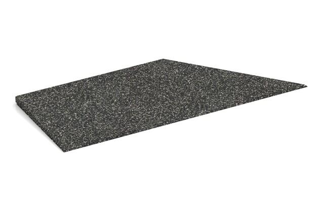 rechte Eck-Keilhälfte von WARCO im Farbdesign Dunkelgrauer Granit mit den Abmessungen 750 x 300 x 25/8 mm. Produktfoto von Artikel 1968 in der Aufsicht von schräg vorne.